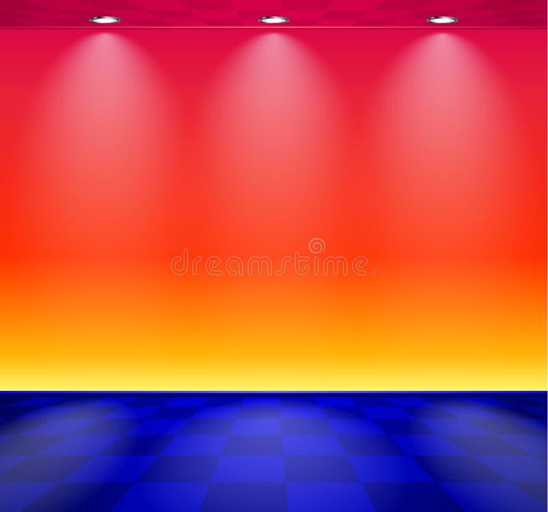 80s redete Dampfwellenraum mit blauer und roter Wand über überprüftem Boden an lizenzfreie abbildung