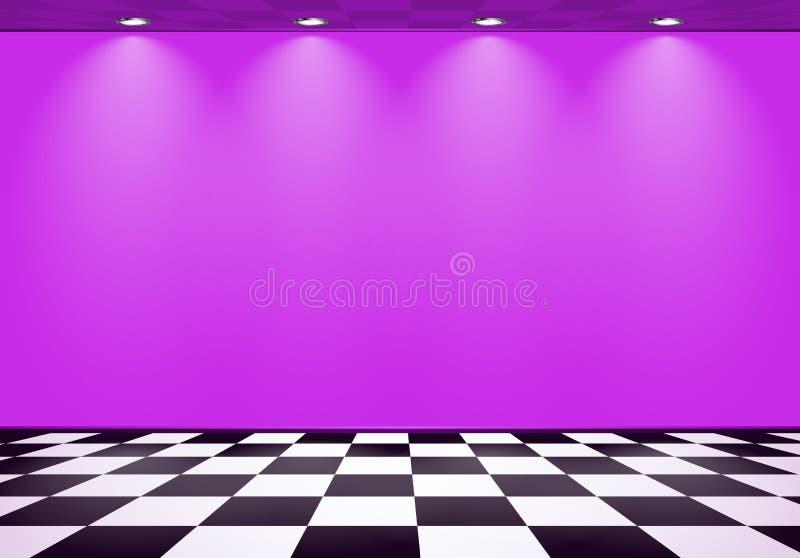 80s redete Dampfwellenraum mit purpurroter Wand ?ber ?berpr?ftem Boden an stock abbildung