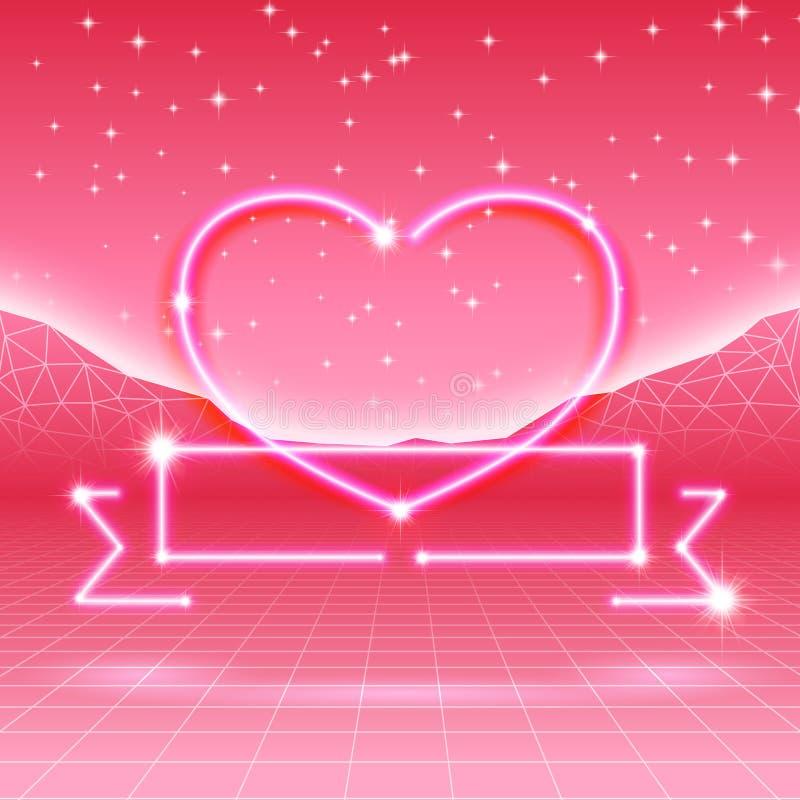 80s redete Retro- futuristische Karte mit Neonherzen in der Computerwelt an stock abbildung