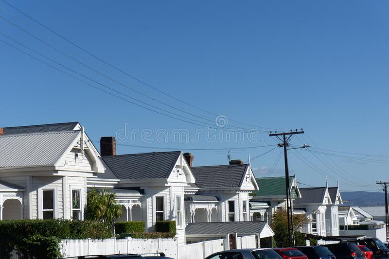 1940`s residential villa gables in street. 1940`s  row of residential villa gables in traditional and established urban suburban street in Ponsonby Auckland New royalty free stock photo