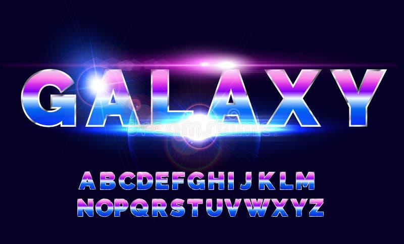 80`s retro alphabet font. Sci-fi future style. royalty free illustration