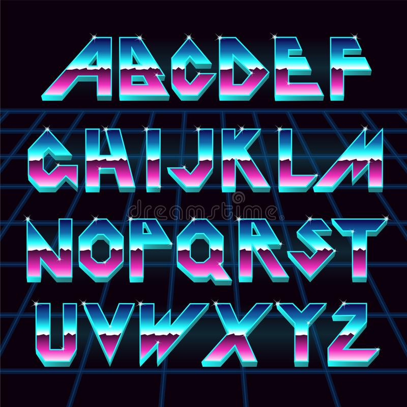 80 s retro alphabet font. royalty free illustration