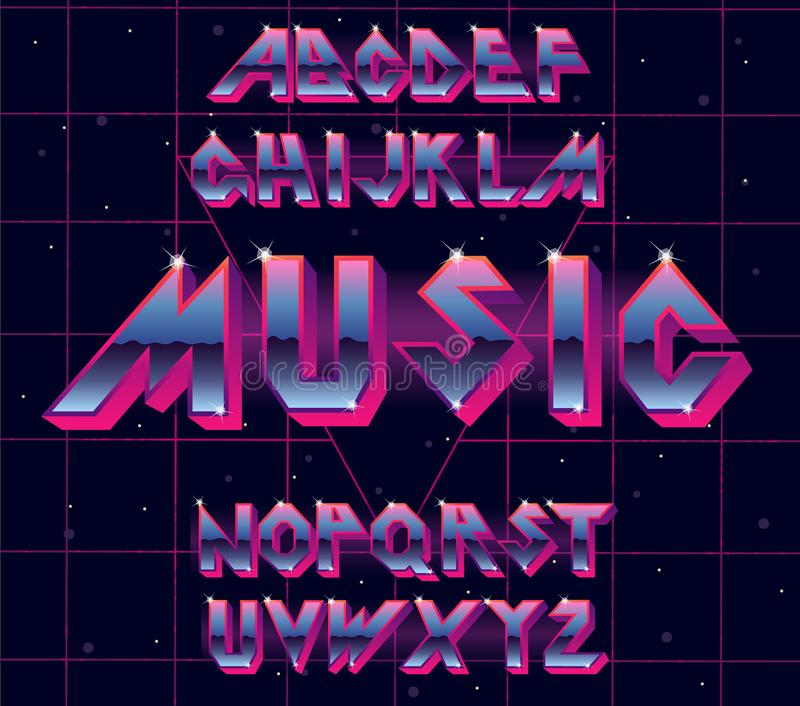 80 s retro alphabet font. Vector typography for flyers, headlines, posters. Effect shiny letters. 80s neon style, vintage dance night. Retro Futurism Sci-Fi royalty free illustration