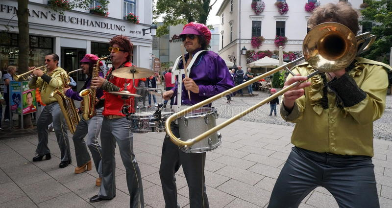 1970s Retro Brass Band. A 1970s retro brass band was part of the Weimar Art Festival in August of 2014. The city of Weimar in the federal state of Thuringia stock photo