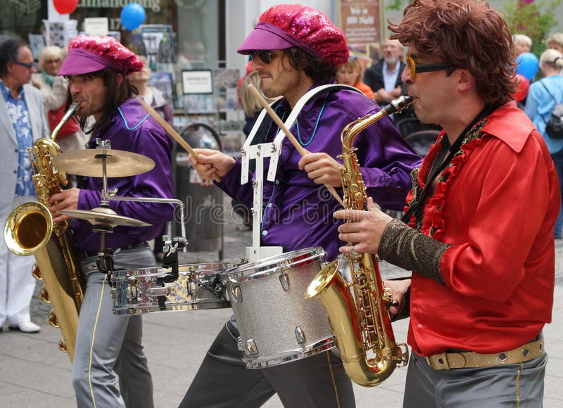 1970s Retro Brass Band. A 1970s retro brass band was part of the Weimar Art Festival in August of 2014. The city of Weimar in the federal state of Thuringia royalty free stock photography