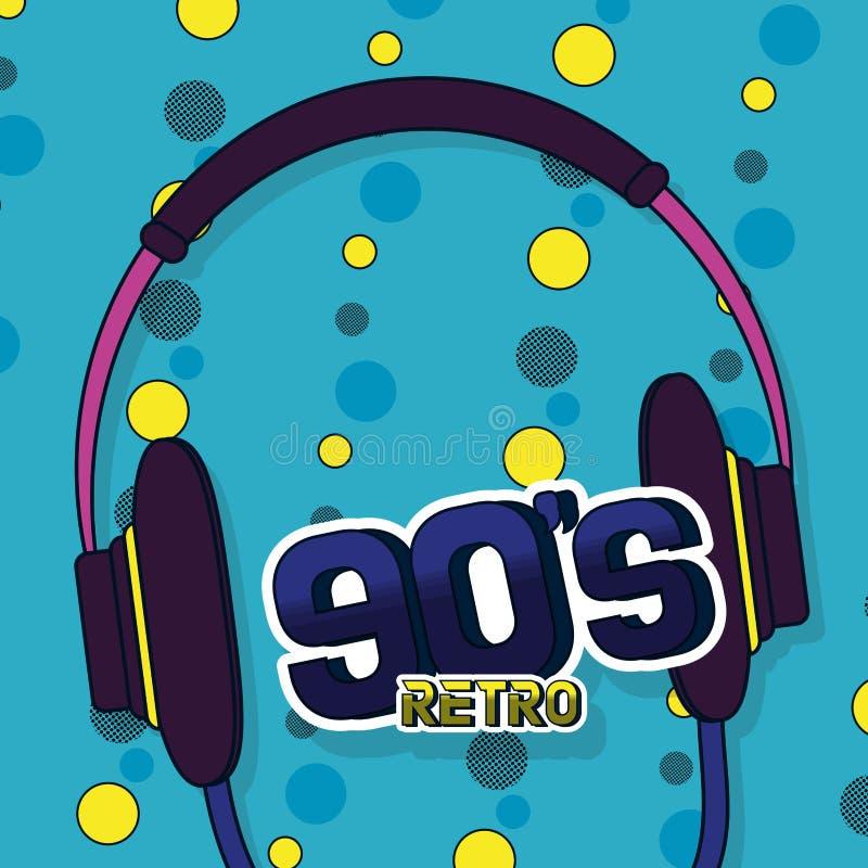 90s retro card design. 90s retro card with elements cartoons vector illustration graphic design stock illustration