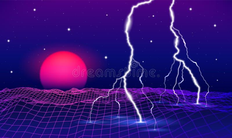 80s retro denominou a paisagem futurista com sol ou a lua e o relâmpago de néon no espaço digital com grade brilhante ilustração stock