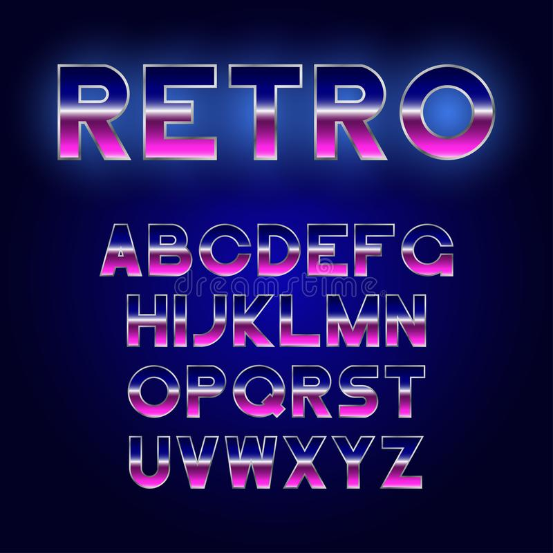80`s Retro font design. Shiny futurism alphabet with metallic effect. Sci-Fi typeface. royalty free illustration