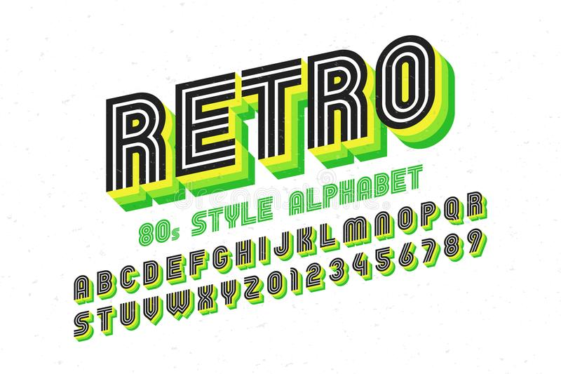 80`s retro font, disco style, alphabet and numbers vector illustration