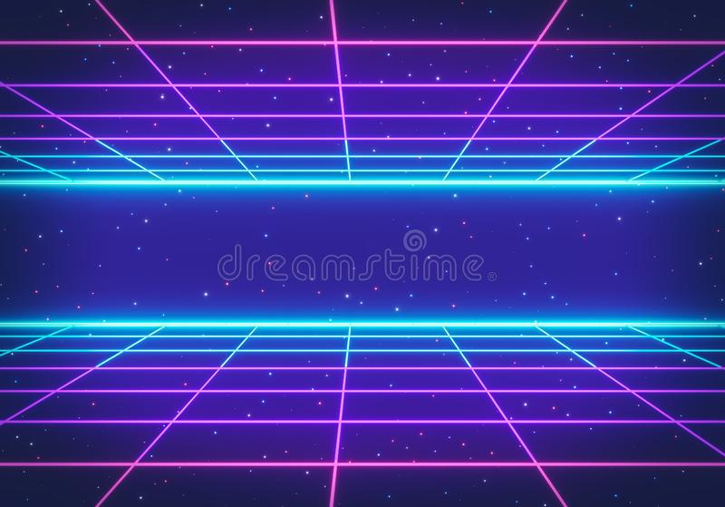 80s Retro Futurism Sci-Fi Background. glowing neon grid. banner, poster. 3d rendering vector illustration