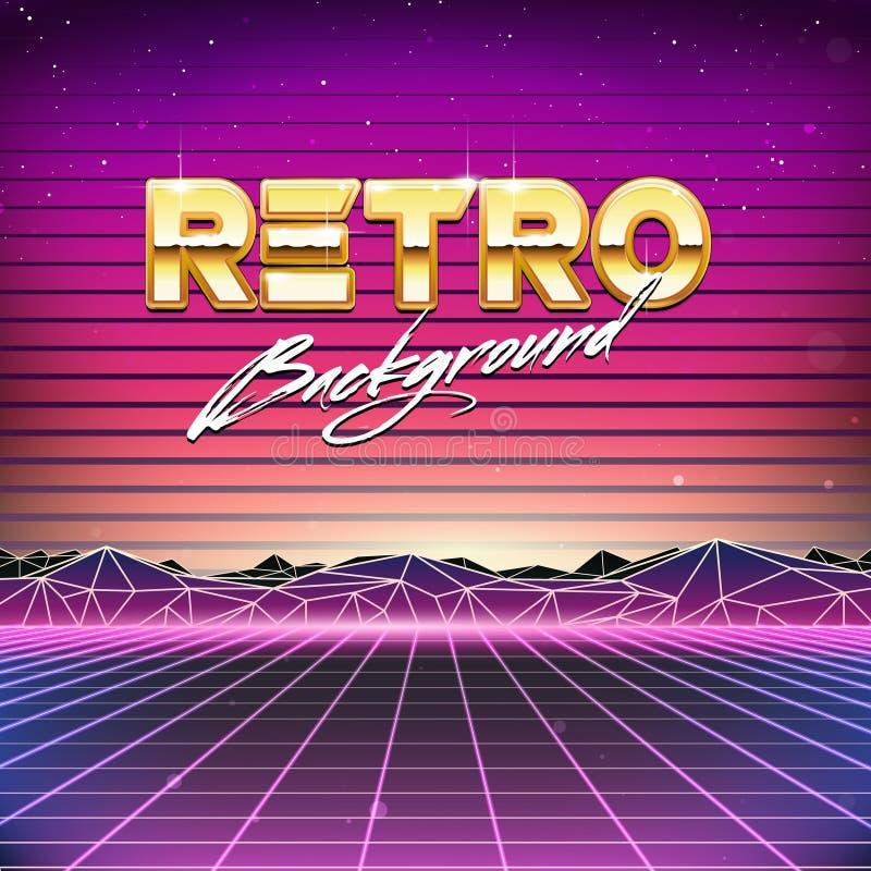 80s Retro Futurism Sci-Fi Background stock illustration