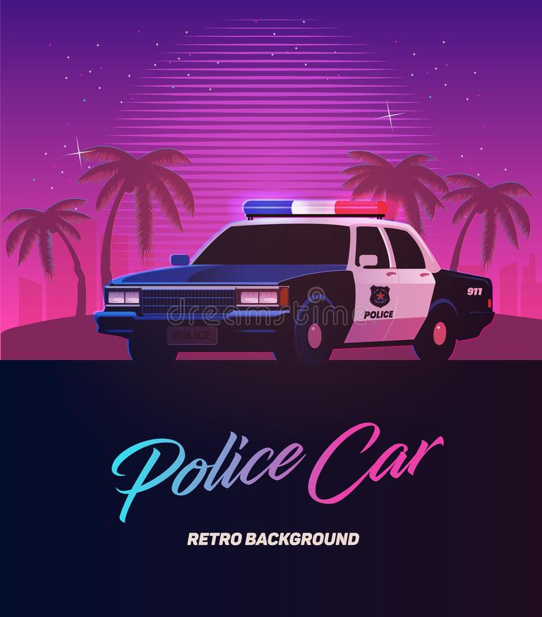 80s retro neon gradient background. Vintage police car. Palms and city. Tv glitch effect. Sci-fi beach. stock illustration