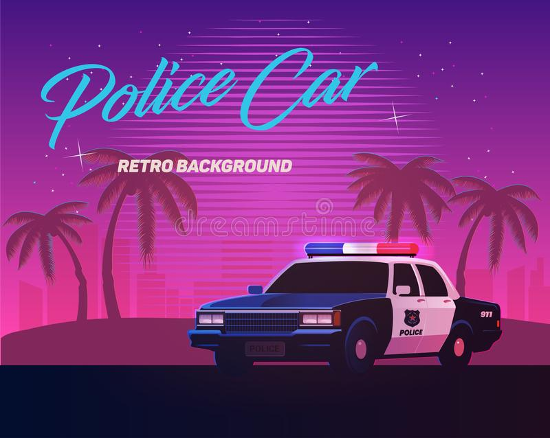 80s retro neon gradient background. Vintage police car. Palms and city. Tv glitch effect. Sci-fi beach. 80s retro neon gradient background. Vintage police car vector illustration