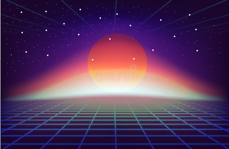80s Retro Sci-Fi Background with sun. futuristic synth retro wave illustration in 1980s posters style. 80s Retro Sci-Fi Background with sun. futuristic synth vector illustration