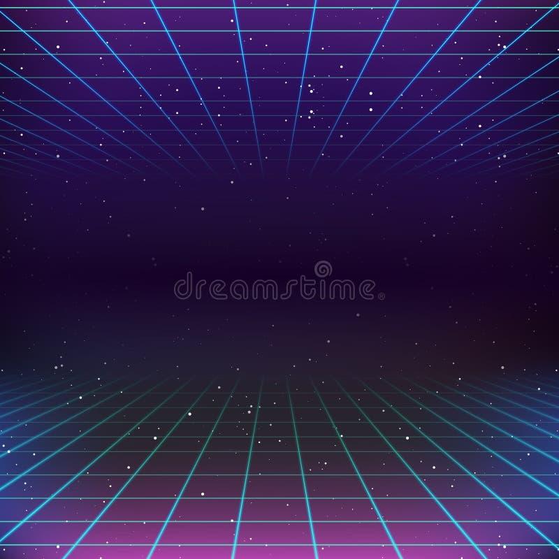 80s Retro Sci-Fi Background stock illustration