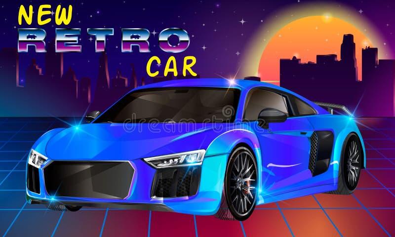 80s Retro Sci-Fi Background. Vector retro futuristic synth retro wave illustration in 1980s posters style. Shine salling vector illustration