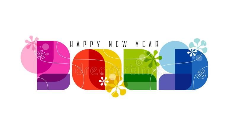 60s retro style numbers 2019 and happy New Year greetings. Isolated on white background royalty free illustration