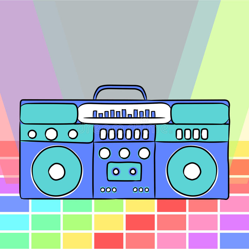 80s retro style. Vintage retro 80`s boombox. vector illustration