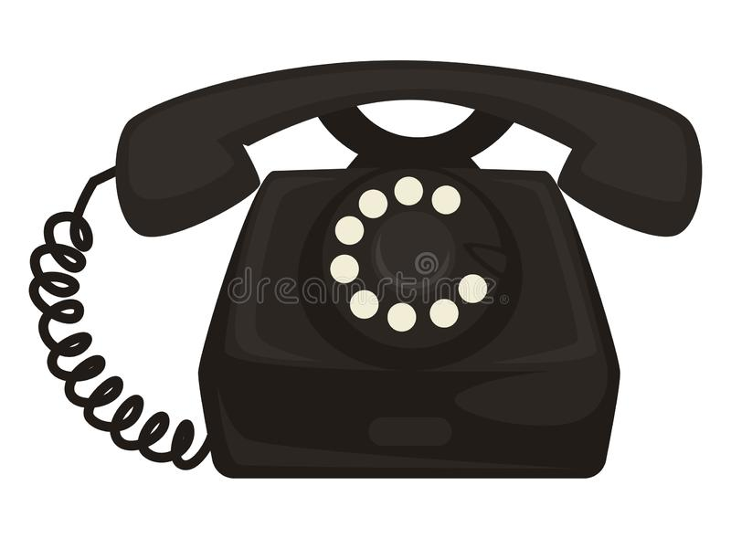 40s retro telephone with dial and receiver, vintage phone stock illustration
