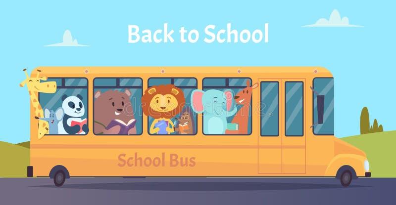 S?rie d'autobus scolaire - 1 Caractères d'animaux de zoo de nouveau à l'école sur le vecteur jaune d'autobus apprenant le concept illustration de vecteur