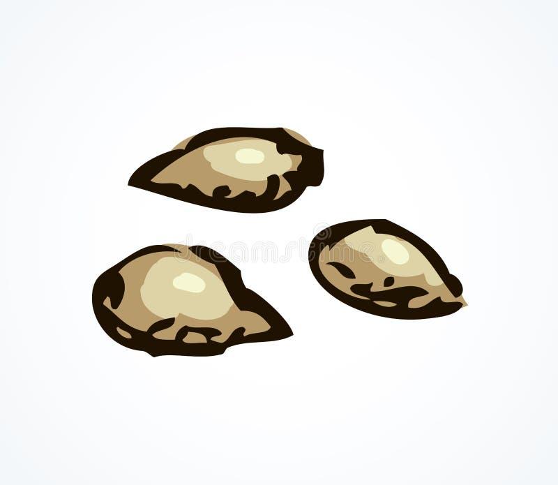 S?rie d'illustrations de vecteur des d?couvertes arch?ologiques Restes de toile, des pierres de fruit et des graines illustration libre de droits
