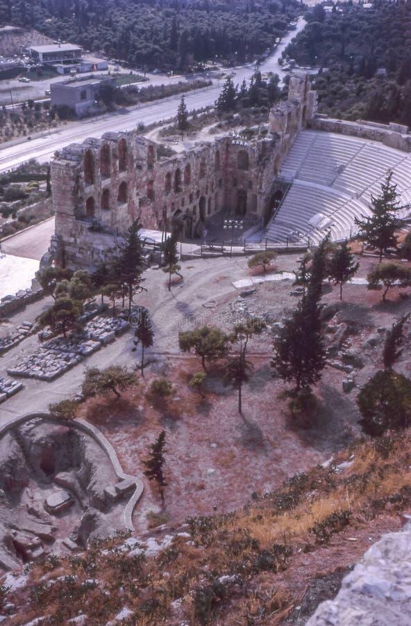 1960s rocznika fotografia Oden Herod Atticus amfiteatr, akropol zdjęcie royalty free