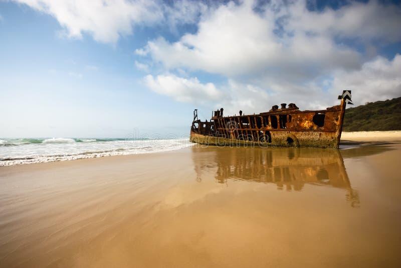 S.S. Maheno, Fraser Island. The S.S. Maheno shipwreck on Fraser Island royalty free stock photo