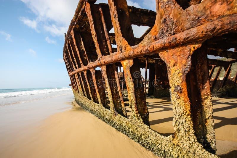 S.S. Maheno, Fraser Island. A closup of the S.S. Maheno shipwreck on Fraser Island stock photography