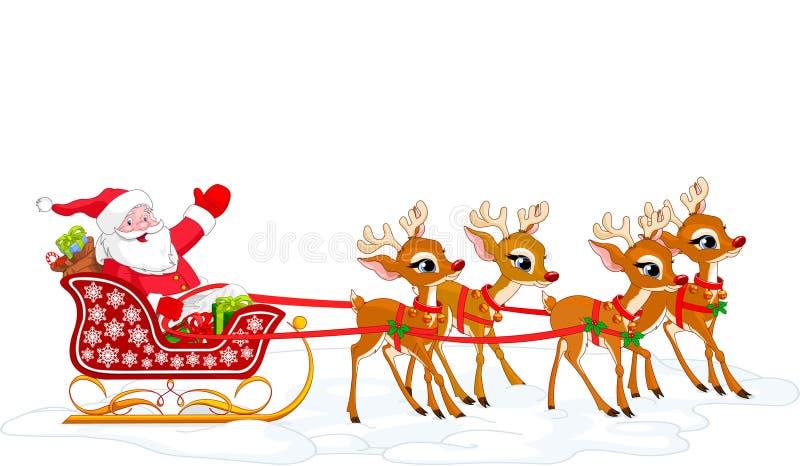 s sanie Santa ilustracji