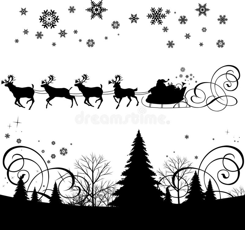 s sanie Santa royalty ilustracja