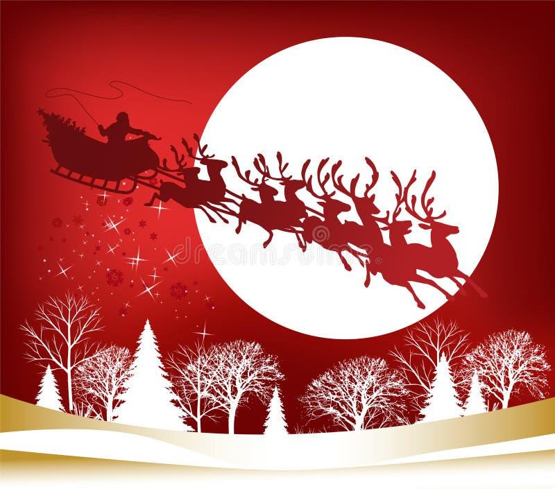 s sanie Santa ilustracja wektor