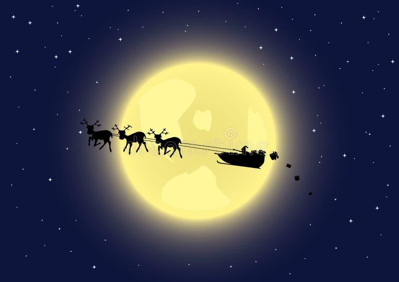 s Santa nieba sanie royalty ilustracja