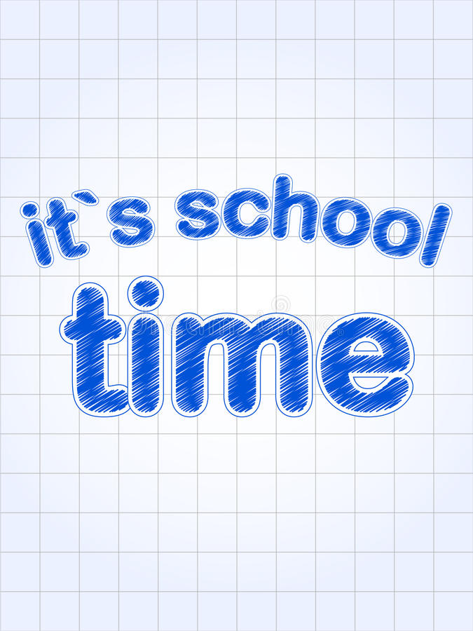 It's school time in blue over squared sheet stock illustration