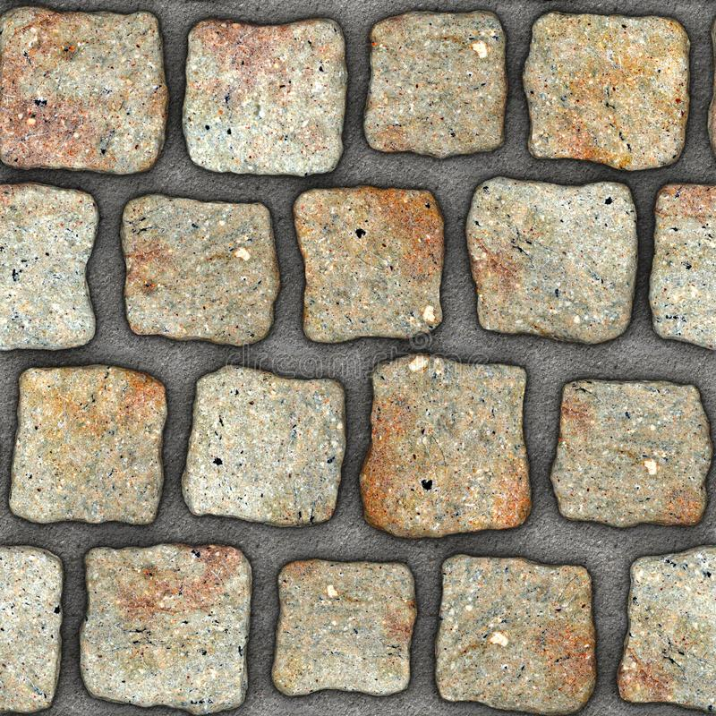 S136 Seamless texture - cobblestone pavers. Cobblestone natural stone pavers insert in concrete. Seamless tileable repeating square 3D rendering texture stock illustration