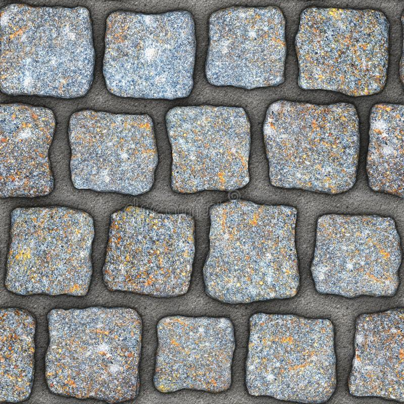 S137 Seamless texture - cobblestone pavers. Cobblestone natural stone pavers insert in concrete. Seamless tileable repeating square 3D rendering texture stock illustration