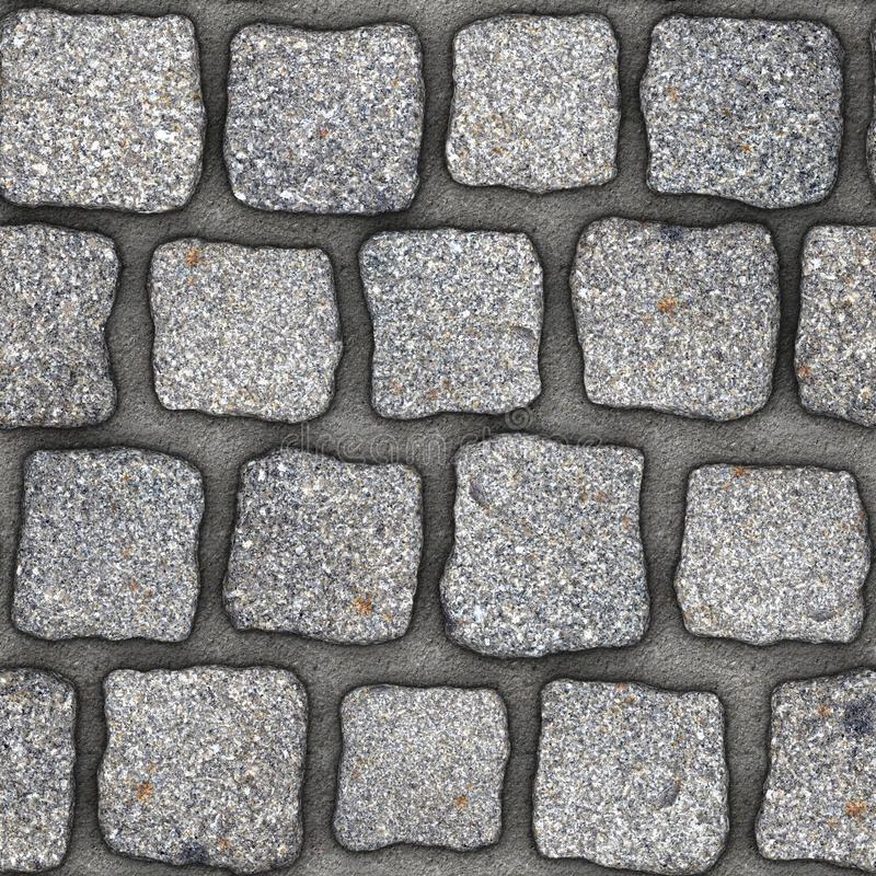 S138 Seamless texture - cobblestone pavers. Cobblestone natural stone pavers insert in concrete. Seamless tileable repeating square 3D rendering texture stock illustration