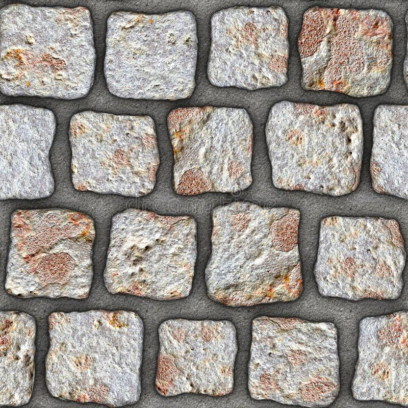 S139 Seamless texture - cobblestone pavers. Cobblestone natural stone pavers insert in concrete. Seamless tileable repeating square 3D rendering texture royalty free illustration