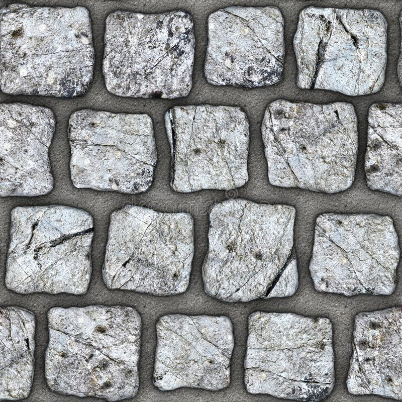 S141 Seamless texture - cobblestone pavers. Cobblestone natural stone pavers insert in concrete. Seamless tileable repeating square 3D rendering texture vector illustration