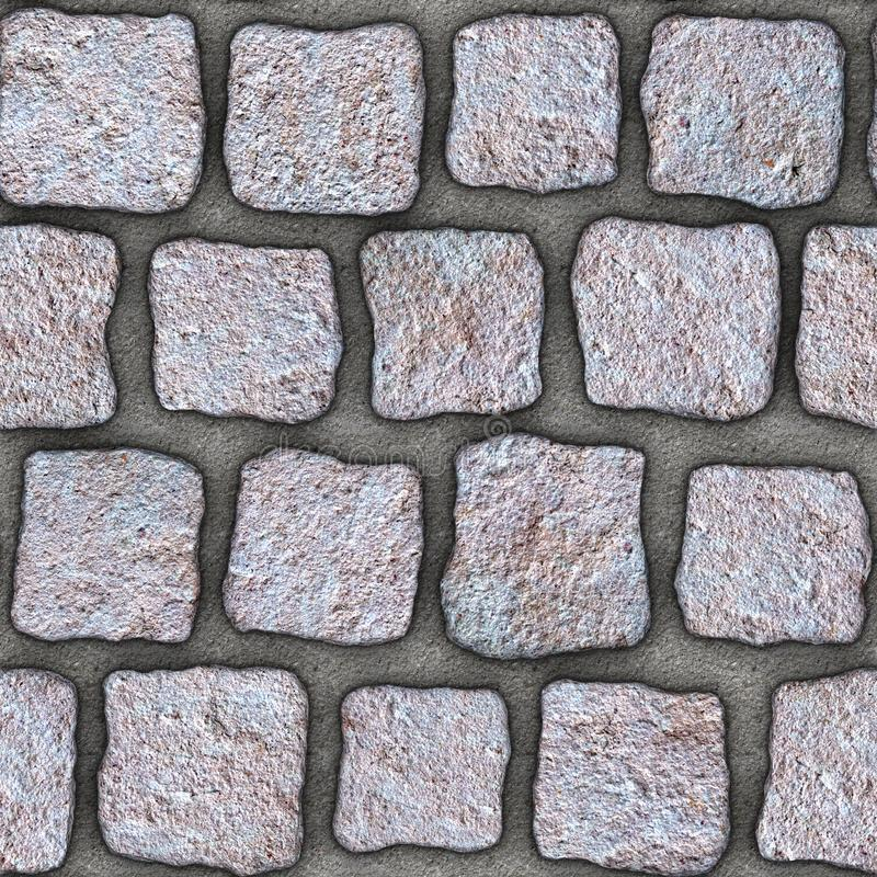 S140 Seamless texture - cobblestone pavers. Cobblestone natural stone pavers insert in concrete. Seamless tileable repeating square 3D rendering texture royalty free illustration