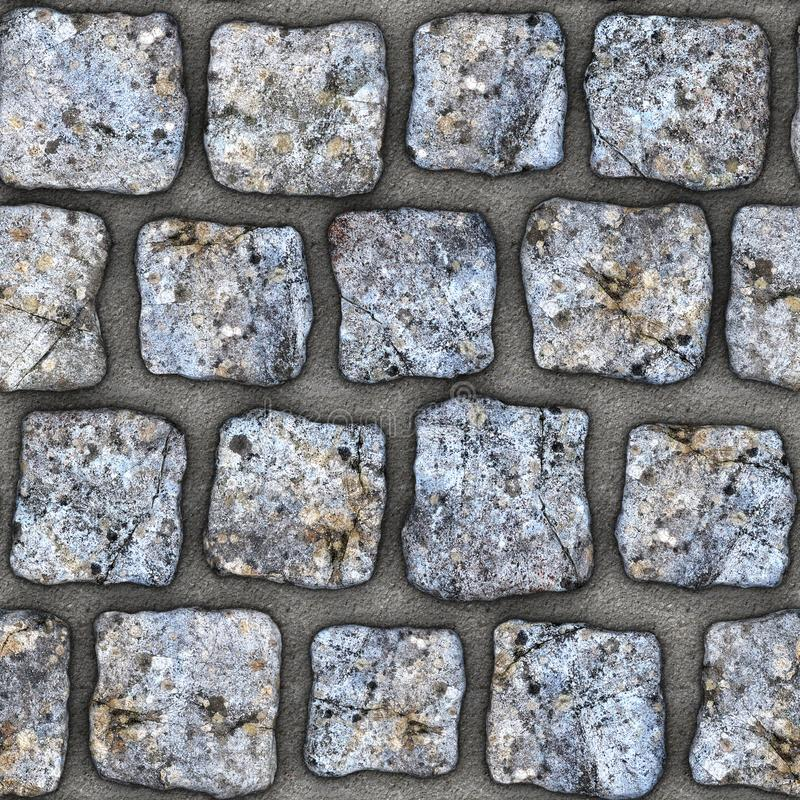 S142 Seamless texture - cobblestone pavers. Cobblestone natural stone pavers insert in concrete. Seamless tileable repeating square 3D rendering texture royalty free illustration