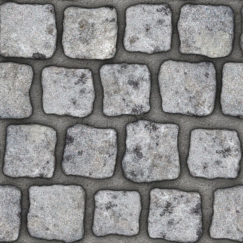 S144 Seamless texture - cobblestone pavers. Cobblestone natural stone pavers insert in concrete. Seamless tileable repeating square 3D rendering texture stock illustration