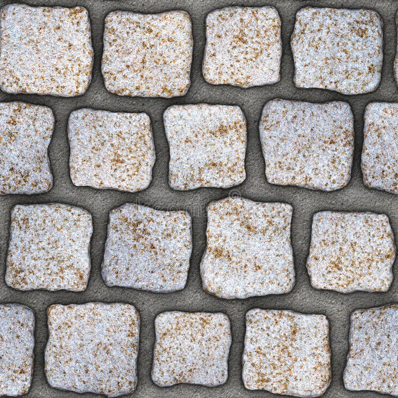 S145 Seamless texture - cobblestone pavers. Cobblestone natural stone pavers insert in concrete. Seamless tileable repeating square 3D rendering texture stock illustration