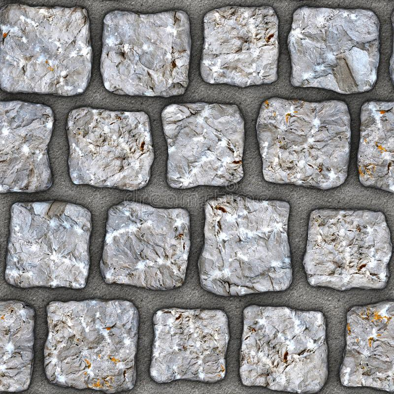 S146 Seamless texture - cobblestone pavers. Cobblestone natural stone pavers insert in concrete. Seamless tileable repeating square 3D rendering texture stock illustration