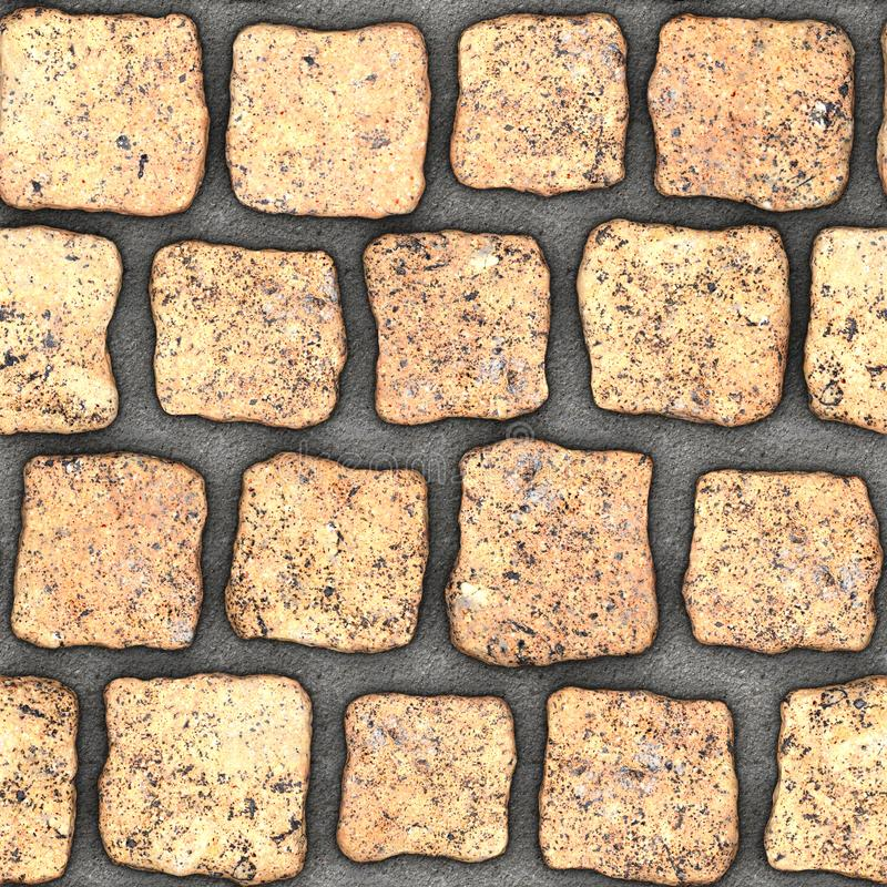 S147 Seamless texture - cobblestone pavers. Cobblestone natural stone pavers insert in concrete. Seamless tileable repeating square 3D rendering texture stock illustration