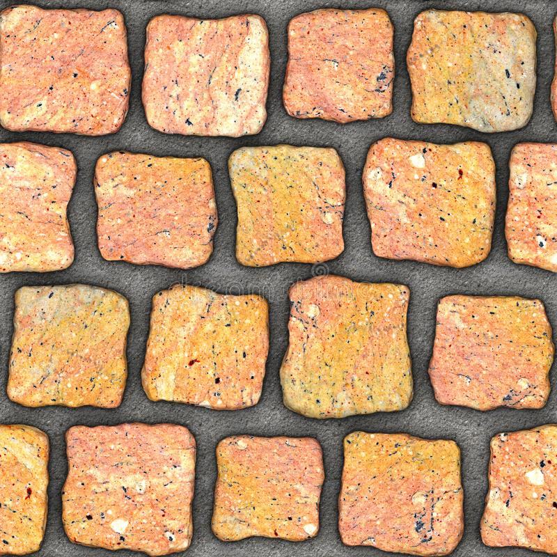 S148 Seamless texture - cobblestone pavers. Cobblestone natural stone pavers insert in concrete. Seamless tileable repeating square 3D rendering texture royalty free illustration
