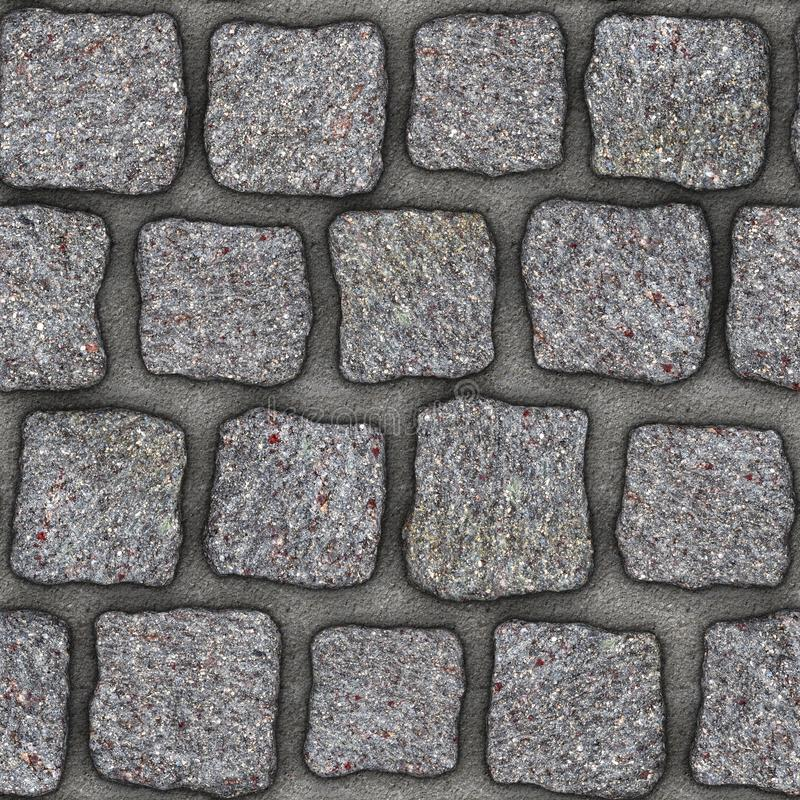 S151 Seamless texture - cobblestone pavers. Cobblestone natural stone pavers insert in concrete. Seamless tileable repeating square 3D rendering texture royalty free illustration