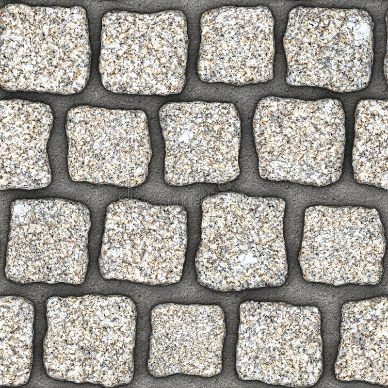S152 Seamless texture - cobblestone pavers. Cobblestone natural stone pavers insert in concrete. Seamless tileable repeating square 3D rendering texture vector illustration