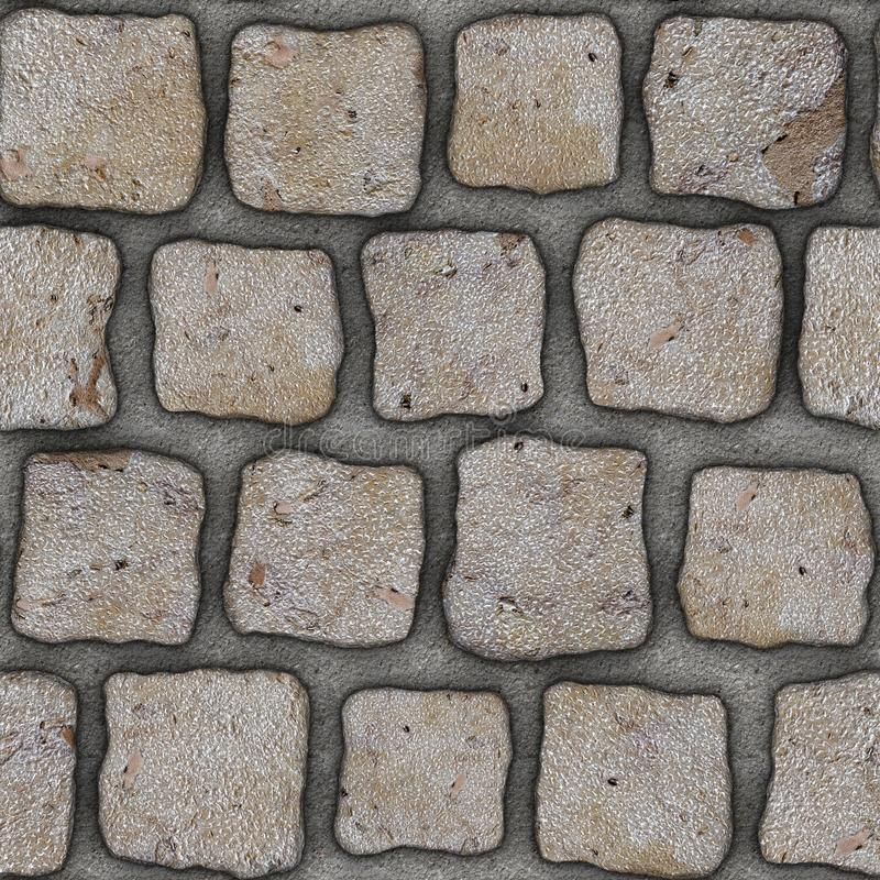 S153 Seamless texture - cobblestone pavers. Cobblestone natural stone pavers insert in concrete. Seamless tileable repeating square 3D rendering texture vector illustration