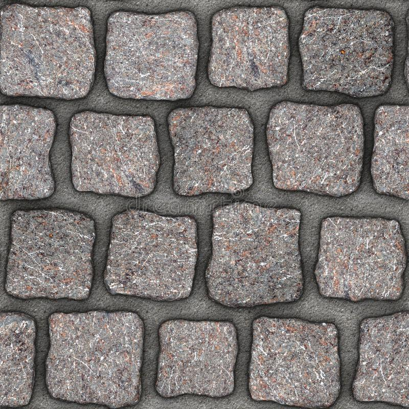 S154 Seamless texture - cobblestone pavers. Cobblestone natural stone pavers insert in concrete. Seamless tileable repeating square 3D rendering texture vector illustration