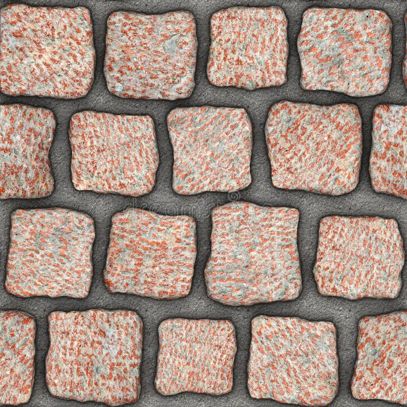 S155 Seamless texture - cobblestone pavers. Cobblestone natural stone pavers insert in concrete. Seamless tileable repeating square 3D rendering texture vector illustration